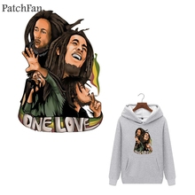 Patchfan Bob Marley heat press stickers iron on patches DIY Handmade clothes jacket t shirt thermal transfer  A1755