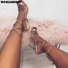 TINGHON  Summer Sexy Women High Heels Shoes Sandals Ankle Strappy Open Toed Stilettos Gladiator Party Dress Pumps Shoes цены