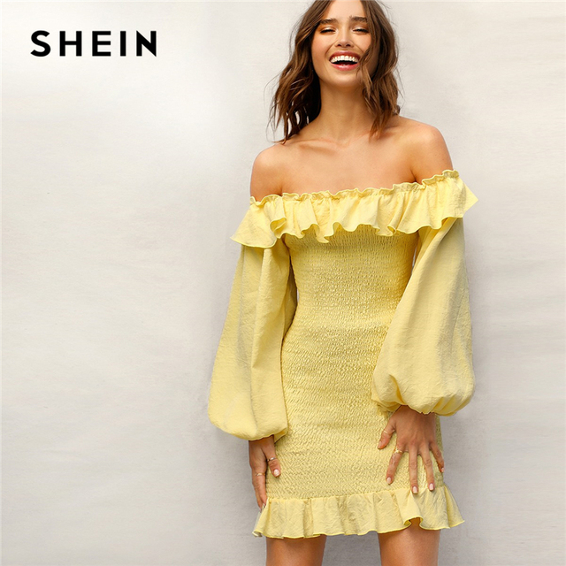 a1f6dbf631 SHEIN Boho Yellow Ruffle Off Shoulder Lantern Sleeve Smocked Party Dress  Women Spring Solid Strapless Shirred