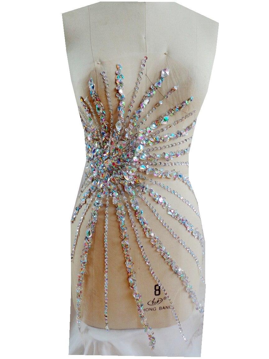 A93 ręcznie wykonane jasne AB kolor szyć na aplikacja ze strasu kryształy wykończenia plastry 72*41 cm sukienka akcesoria w Łatki od Dom i ogród na AliExpress - 11.11_Double 11Singles' Day 1