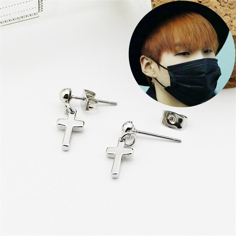 Youpop KPOP BTS Bangtan Boys Album Cross Earrings Korea Fashion Jewelry Accessories For Men Women Boy Girl Stud Earrings FR025
