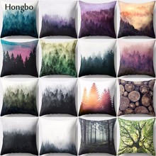 Hongbo 1 Pcs Pillow Case Colorful Oil Forest Painting Mountain Wave Polyester  Sofa Cushion Cover