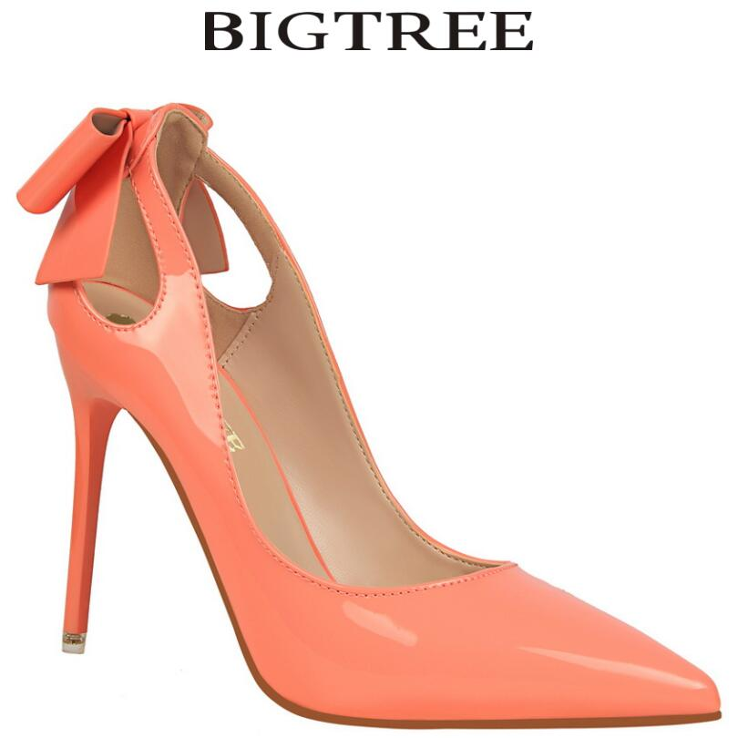 BIGTREE Brand Women's Shoes Sweet Big Bow High Heels Women Pumps Stiletto Thin Heel Pointed Toe Hollow High-heeled Shoes 10cm