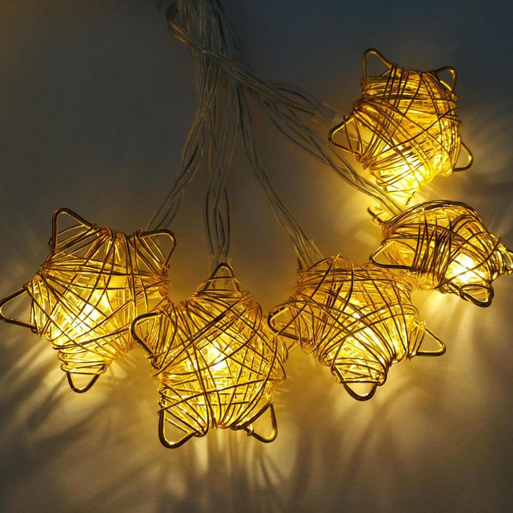 1.6m 10Light Iron Wire Stars Heart-shaped LED String Lights Christmas Festive Room Home Decorative Safty Lights Pendant Gift