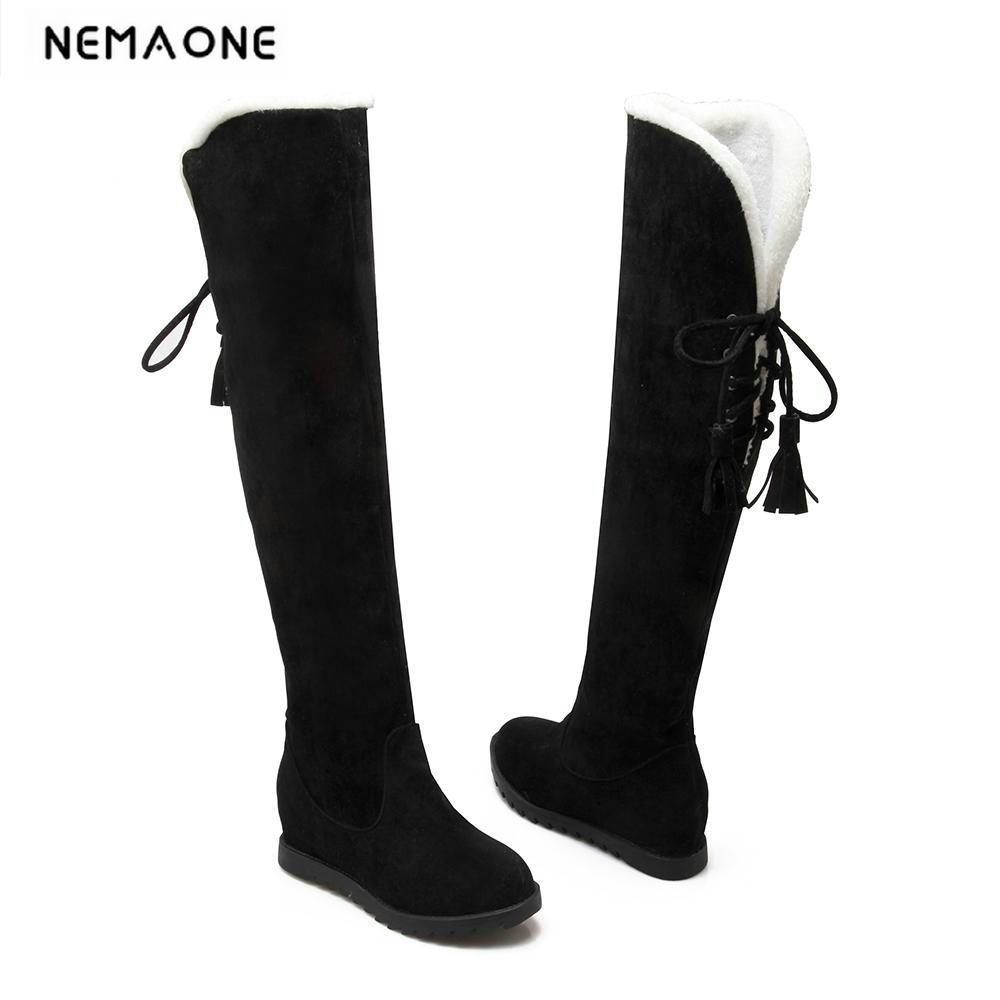 New Low Heel Shoes Winter New Faux suede fur Snow boots women wedge heels over the knee boots large size 34-43 ppnu woman winter nubuck genuine leather over the knee snow boots women fashion womens suede thigh high boots ladies shoes flats