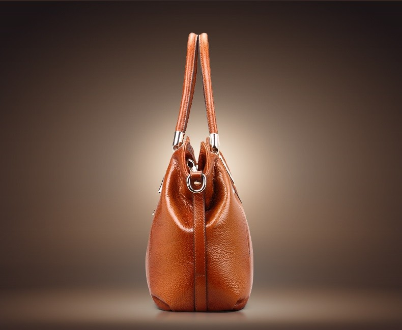 Vintage Women's Handbags Soft Genuine Leather Tote Crossbody Bag High Quality Cow Leather Shoulder Bags Female Brown Hand Bag 8