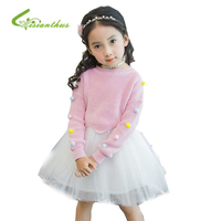 Çocuk Kız Giyim Set Sevimli Kazak + TuTu Elbiseler Kalın Sıcak Kız Elbise Prenses Örme Tops Parti Çocuk Giyim Suit
