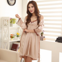 2019 gilet women sexy bathrobe female robe silk spaghetti strap lace sleepwear twinset nightgown set lounge Nightdress