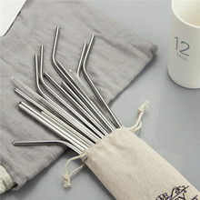 купить Reusable Metal Drinking Straws 304 Stainless Steel Sturdy Bent Straight Drinks Straw with Cleaning Brush Bar Party Accessory дешево