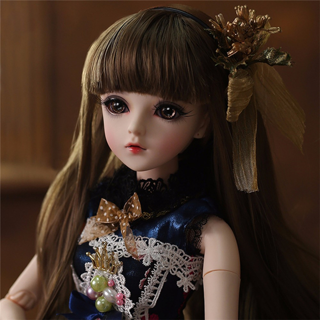 BJD Doll 1/3 Brown Eyes With BJD Clothes Wigs Shoes Makeup 100% Handmade Beauty Toys Silicone Reborn Doll Toy For Children 1
