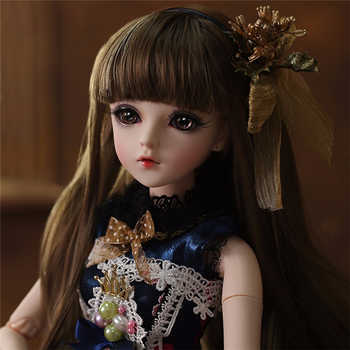 BJD Doll 1/3 Brown Eyes With BJD Clothes Wigs Shoes Makeup 100% Handmade Beauty Toys Silicone Reborn Doll Toy For Children