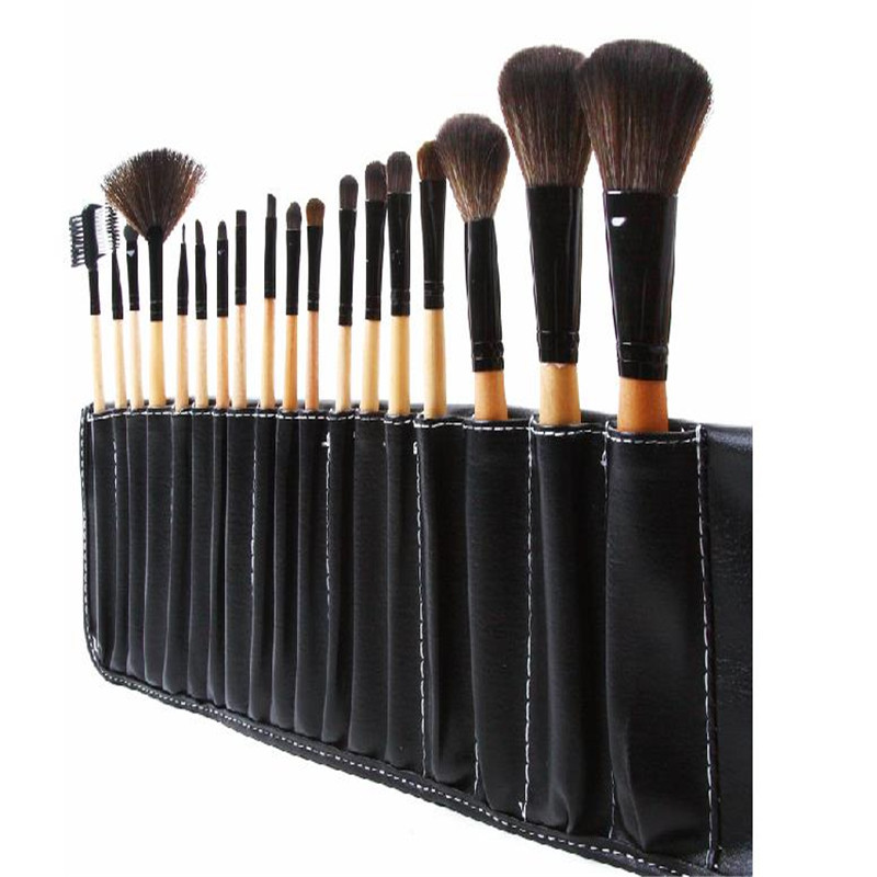 Pro Kit De Pincel 18PCS wood&black Color Makeup blush Brushes Stoke Natural Wool Hair Cosmetic Brush Set maquiagem kit