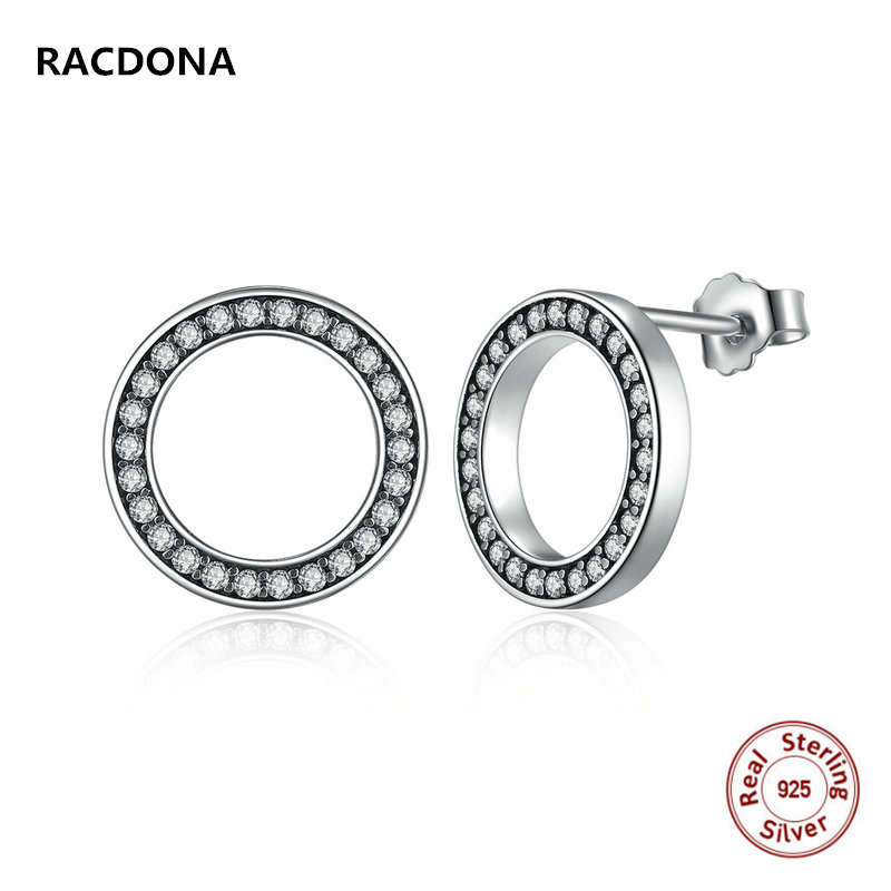 European Hot Selling Style Jewelery Genuine 925 Sterling Silver Earrings Round White With Zircon Boutique Jewelry For Women