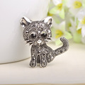 Kawaii Cat Brooches For Women Men Kids Antique Silver Plated Hijab Pin Broches Coat Shirt Clips Party Joyas Animal Collar Pin