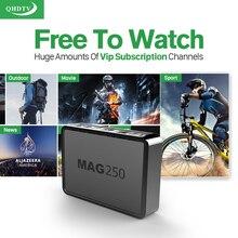 MAG250 Linux IPTV Boîte HD USB WIFI avec 1300 + QHDTV Arabe français IPTV 1 Année Europe Italien ROYAUME-UNI Canal Plus Canaux Abonnement