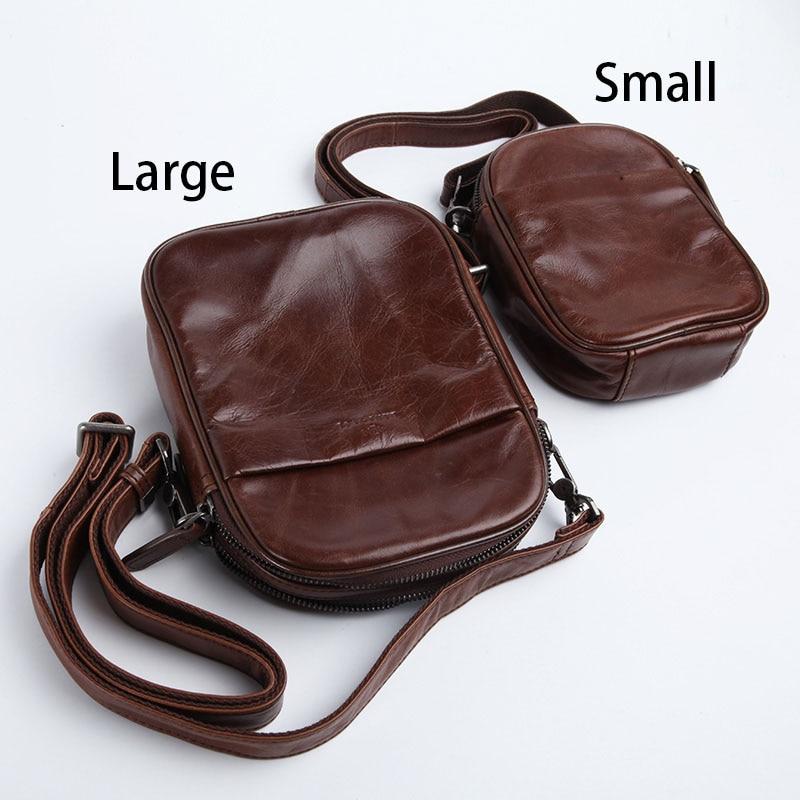 Image 4 - AETOO Mens leather Oblique cross Baotou layer cowhide mini bag  packets shoulder bag mobile phone bag Japanese small bagCrossbody Bags