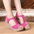 Plus Tamaño de Las Mujeres Sandalias de Plataforma Zapatos de Las Mujeres Sandalias de Las Cuñas de Punta Abierta Sandalias de Verano