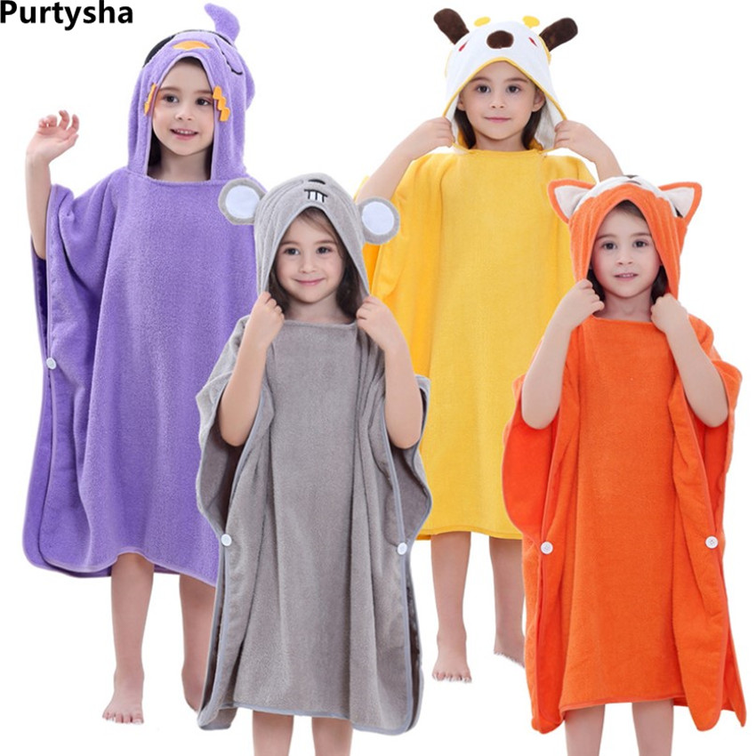 66b737ea71 Kids Boys Girls Bathrobes Hooded Towel Cotton Cartoon Unicorn Children Bath  Robe Swimwear Badcape Beach Cloak