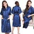 Más el Tamaño S-XXXL Rayón Albornoz Mujeres Kimono del Satén Largo Robe Sexy Lingerie Camisón Clásico ropa de Noche con Cinturón