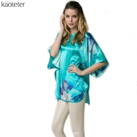 100 Pure Silk Women S Blouses Women Super Loose Short Sleeve Hand Painted Print Female Retro