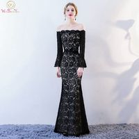 Black Lace Evening Dresses 2018 New Mermaid Long Trumpet Sleeves Off Shoulder Boat Neck Prom Gowns robe de soiree grande taille