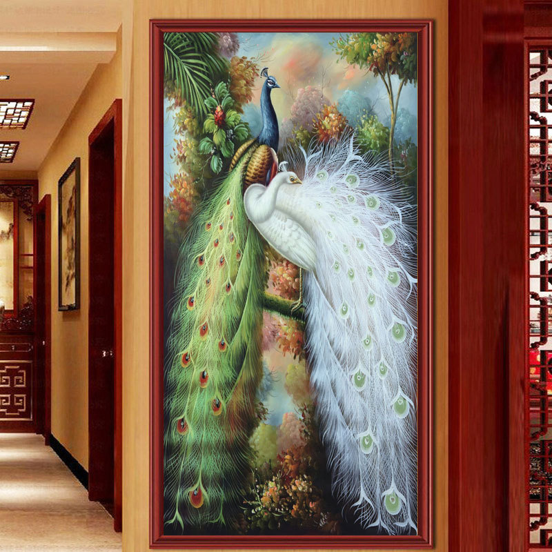 Diy Diamond Painting Peacocks Companion Full Embroidery Chinese Style Symbolizes Good Luck A Decoration For Living Room