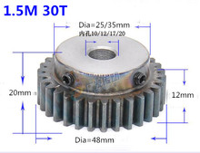 2pcs Spur Gear pinion 1.5M 30T 1.5 mod gear rack 30 teeth bore 10/12/17/20mm 45teel Ccnc pinion teeth high frequency quenching spur gear pinion 1m 60t 60teeth mod 1 width 10mm bore 10mm right teeth 45 steel positive gear cnc gear rack transmission rc