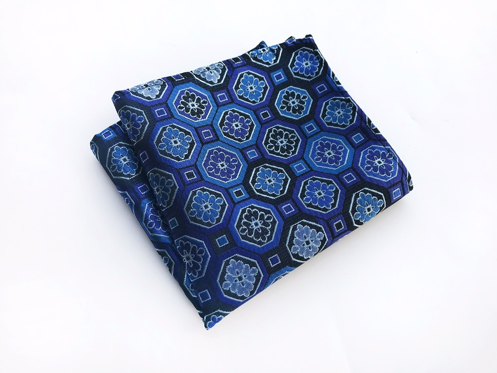 25x25 Fashion Men Handkerchief Royal Blue With Classic Floral Pattern Pocket Square