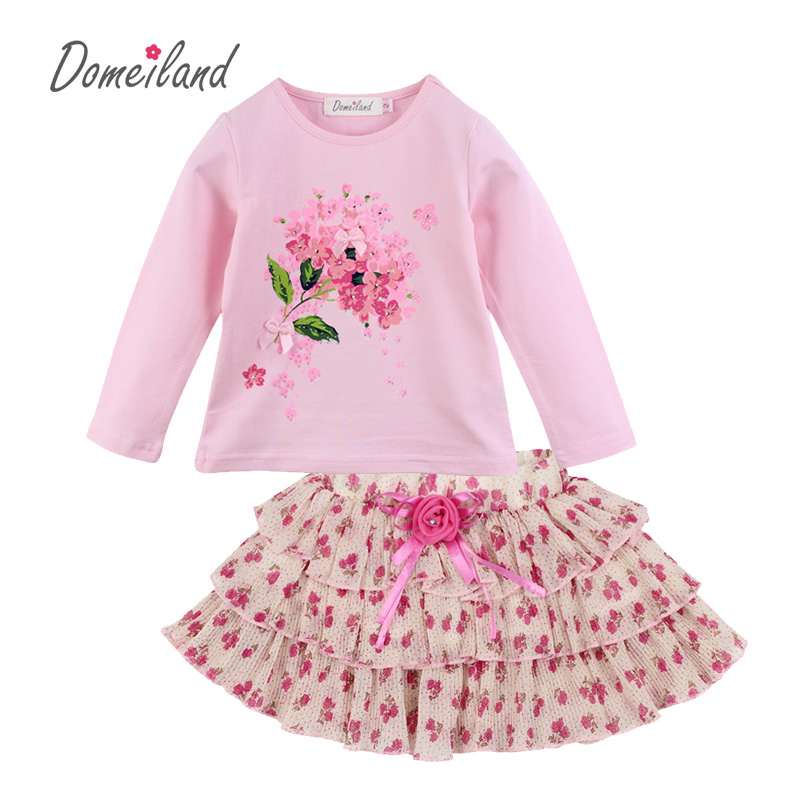 2017 Fashion Spring Domeiland Boutique Outfits Baby clothes Sets 2pcs girl Cute Floral Long Sleeve t shirts Pleated Skirts suits new fashion toddler kids baby girls clothes vest t shirts tulle tutu skirts princess 2pcs sets summer cute outfits