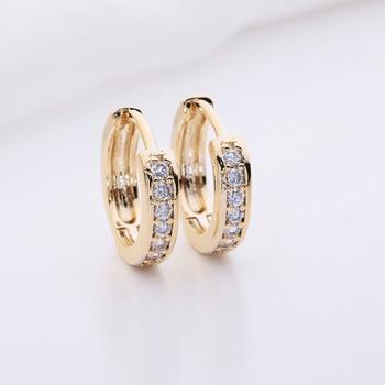 Kinitial 1Pair Small Hoop Earrings 24K Gold Cubic Zirconia Round Hoop Earrings Filled Clear Womens Earrings Surgical Jewelry 4