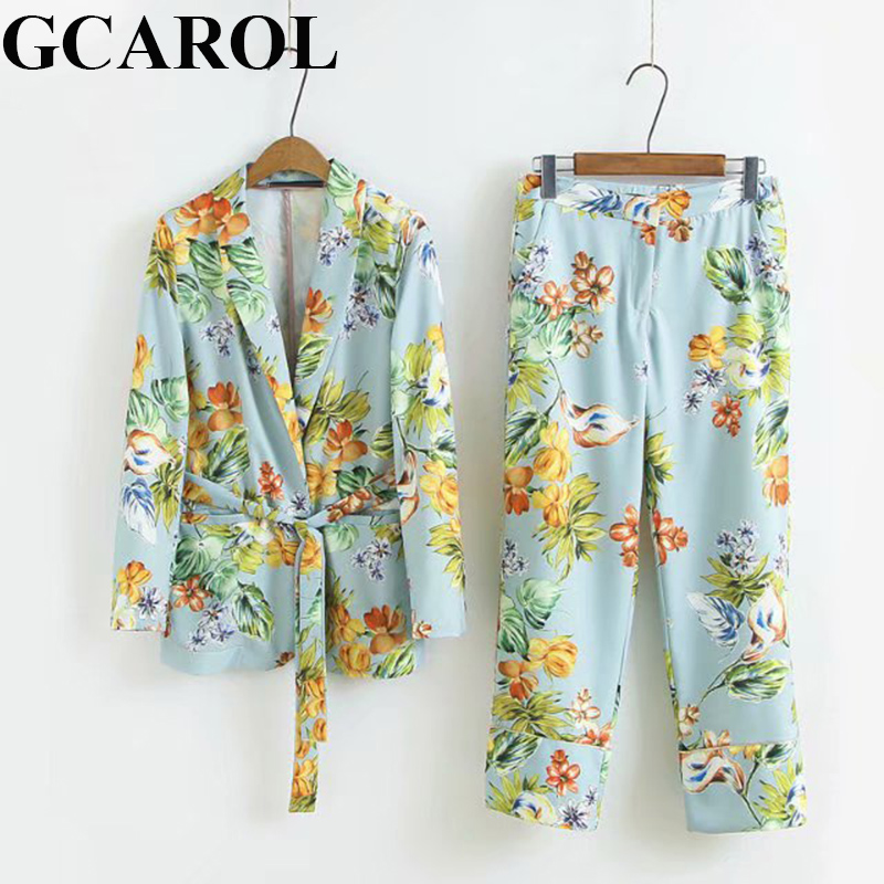 GCAROL New Women'sets 2 Pcs Blazer With Sashes OL Suit Ankle Length Wide Leg Pants Two Pieces Lady Casual Tops Pants Trousers