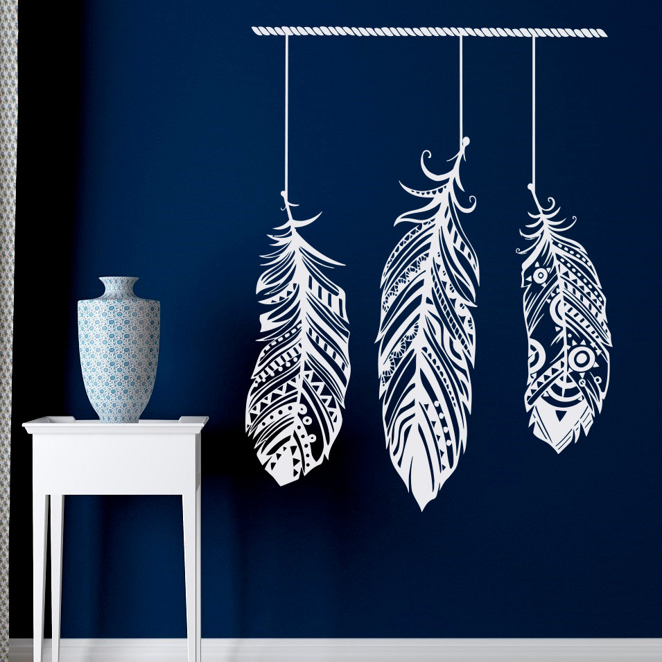 Feather Wall Decal Stickers Tribal Wall Art Bohemian Decor Living Room Bedroom Dorm Feather Wall