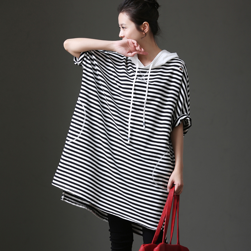 Q7111 Striped hooded seven point sleeve vest