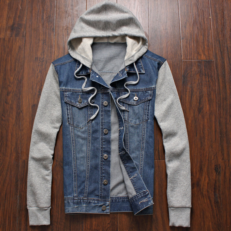 Denim Jacket Men Hooded Sportkläder Outdoors Casual Mode Jeans Jackor Hoodies Cowboy Mens Jacka och Coat Plus Storlek 4XL 5XL
