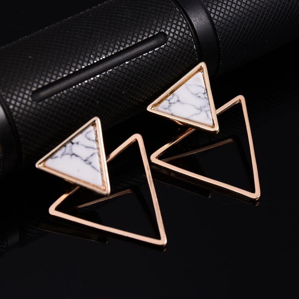 New Women Punk Stud Earrings With Geometric Round/Square/Triangle Faux Marbled Stone From India pendientes