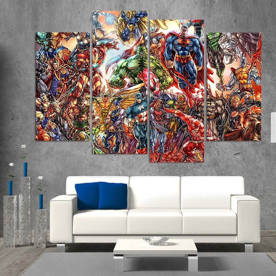 popular marvel arts buy cheap marvel arts lots from china marvel wall art canvas painting marvel comics hd printed 4 pieces poster room decor pictures for living