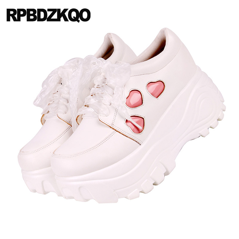 Cute Muffin Elevator Trainers Sneakers Thick Sole Round Toe Creepers Platform Shoes Japanese Heart Women 2018 Wedge Lace Up by Rpbdzkqo