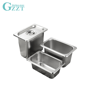 GZZT 6pcs/Lot Stainless Steel 1/9 Gastronorm Containers with Lid  American Style 0.6mm Thickness Buffet Kitchen GN Pan