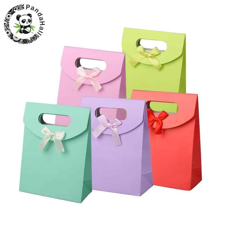 16,3x12,3 см, яркие цвета, бумажные подарочные пакеты для девочек, детская упаковка с бантом из ленты, смешанные цвета