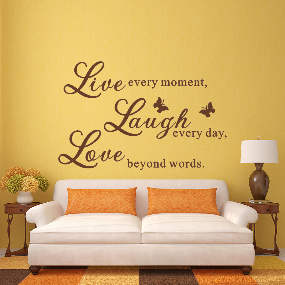 Live Love Laugh Wall Decals Art Mural Quote Lettering Living Room ...