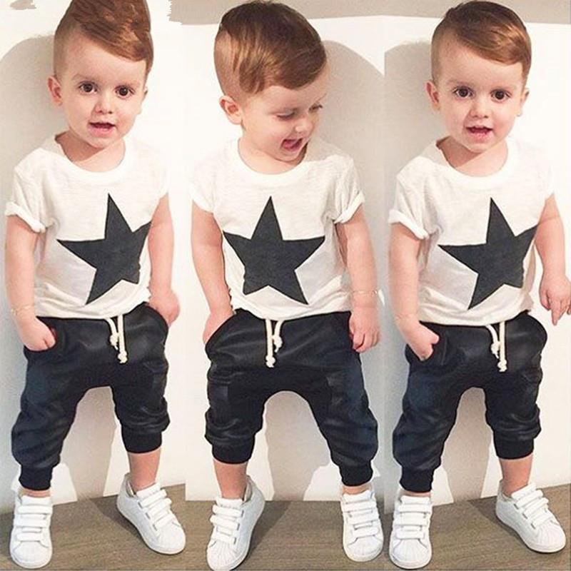 2017 summer style baby boy clothes fashion cotton baby girl clothing set casual short sleeved printed t-shirt+pants 2pcs sets