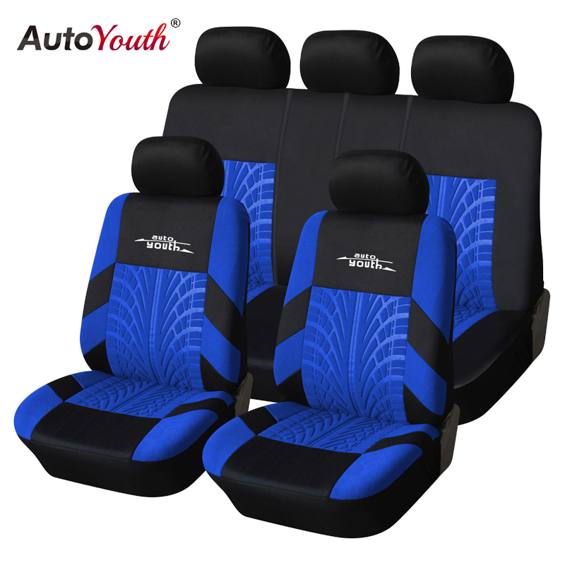 AUTOYOUTH  Fashion Style Car Seat Cover Polyester Fabric Universal Fit Most Brand Vehicle Car Seat Protector Seat Covers autoyouth hot sale front car seat covers universal fit tire track detail vehicle design seat protective interior accessories