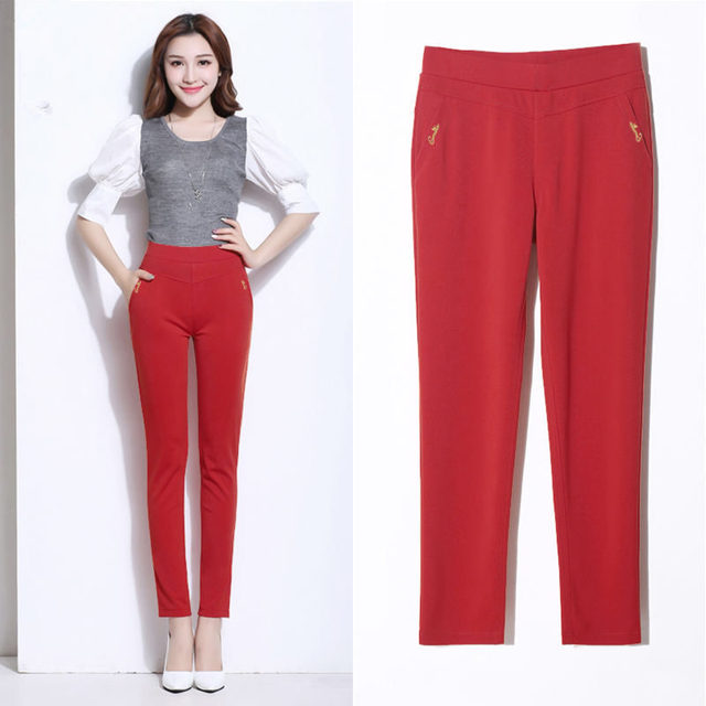 Pants Women Casual Elastic Streetwear High Waisted Pants Female Elegant Trousers Women Plus Size 5XL Office Ladies Pants Q1418