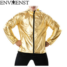 2018 New Autumn Jackets Men Luxury Shiny Jacket Fashion Nightclub Clothing Glittering Silver Golden Jacket Coat Rockabilly Men
