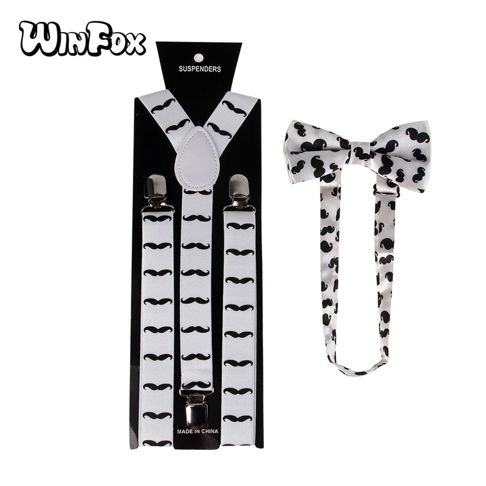 Winfox Fashion Adjustable Unisex White Black Moustache Print Bow Tie And Suspender Sets For Men Women