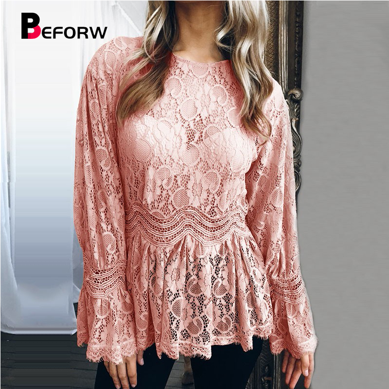 BEFORW 2018 Women Sexy Hollow Out Lace   Blouse     Shirt   Elegant Flare Long Sleeve   Blouses   Female Autumn Winter Casual   Shirts   Tops