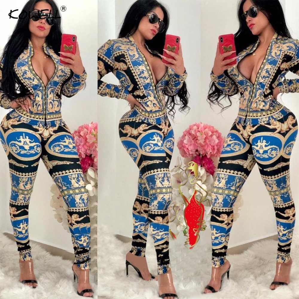 d0504b4fb2a6 ... 2019 New Sexy Stand Neck Skinny Rompers Zippers Long Sleeve Print Womens  Jumpsuit Streetwear Plus Size ...