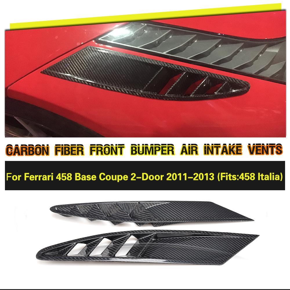 De fibra de carbono de lado de admisión de aire de ventilación de malla cubre caso para Ferrari 458 Base Coupe 2 2011 de 2012, 2013 accesorios piezas de 2 piezas
