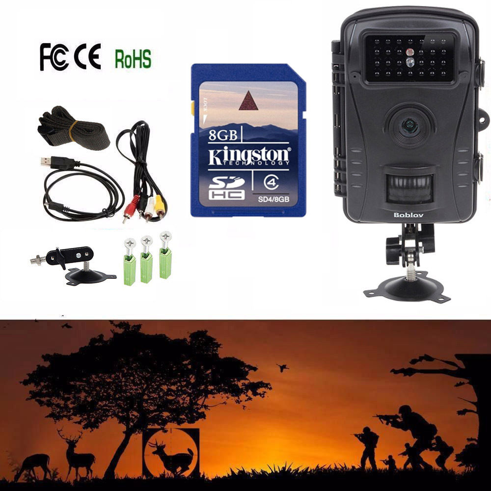 все цены на Boblov RD1003 Hunting Camera Digital HD 8MP Waterproof Infrared Scouting Trail Camera DVR+Free 8GB SD Card For Hunter Cam