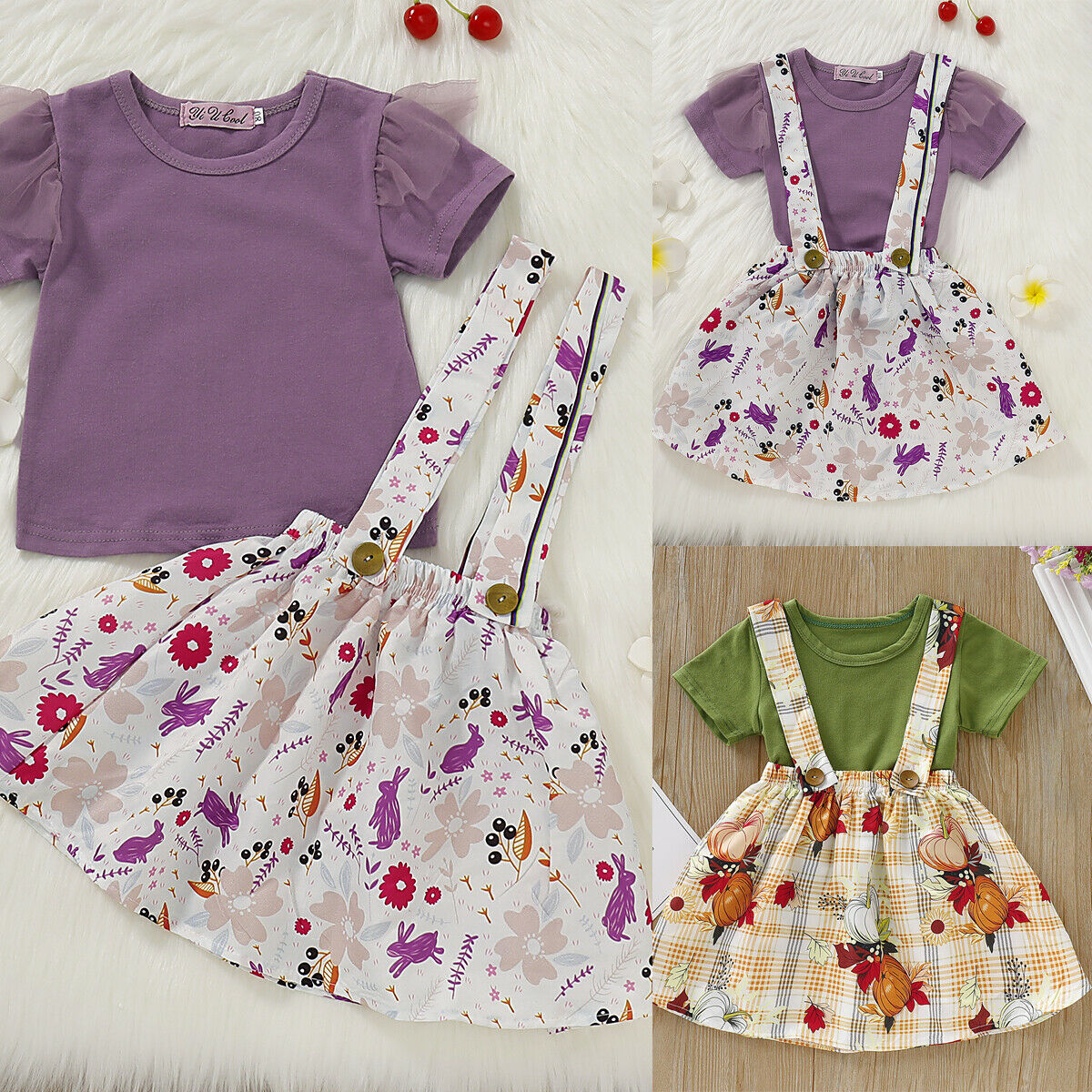 Imute 2019 Newest Fashion Toddler Kid Baby Girl Summer Causal Short Sleeve Blouse Tops Floral <font><b>Bib</b></font> <font><b>Skirt</b></font> 2Pcs Outfits Set Clothes image